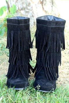 These Forever Fringe Moccasin Boots (Black) are trending this fall. Available in Black, Tan, Grey colors. Shop NanaMacs.com today! (http://www.nanamacs.com/forever-fringe-moccasin-boots-black/)