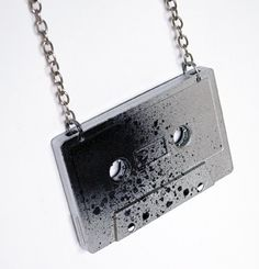 Pray painted upcycled cassette tape pendant. DIY Handmade Design Jewelry. Punk, rock, rockabilly, psychobilly.