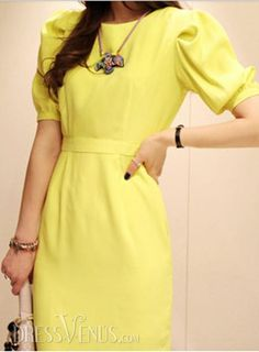 fd1fdcd8f59 knee-length Puff Sleeve Slim elegant yellow new fashion high waist chiffon  dress women Spring and summer 2014