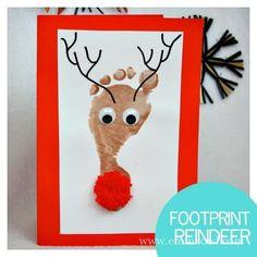 Reindeer Footprint Card - Simple Card Making Ideas for Kids via…