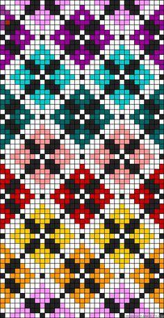 Diamonds plaid rainbow perler bead pattern Would make a great cross stitch patte. Diamonds plaid rainbow perler bead pattern Would make a great cross stitch pattern Bead Loom Patterns, Beading Patterns, Embroidery Patterns, Crochet Patterns, Cross Stitching, Cross Stitch Embroidery, Hand Embroidery, Cross Stitch Designs, Cross Stitch Patterns
