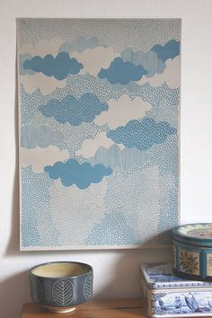 Rain  Screen Print by LouiseSmurthwaite on Etsy
