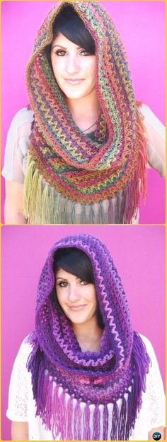 Crochet Mountains Cowl Free Pattern - Crochet Infinity Scarf Free Patterns