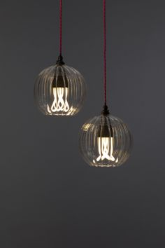 Plumen in Fritz Fryer Hereford ribbed glass globe pendant light & Hereford Globe Pendant Light | Filament Newman St by Hani AlYousif ...