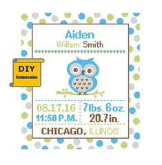 DIY customizable Pattern Cross Stitch Birth Announcement Cross Stitch Birth Record Polka Dot Baby Boy Girl Baby Owl Nursery Instant Download