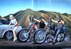 DAVID MANN Harley Davidson Motorcycle Art Flat Tire Vintage Easyriders Wall Decor Print. $9.97, via Etsy.