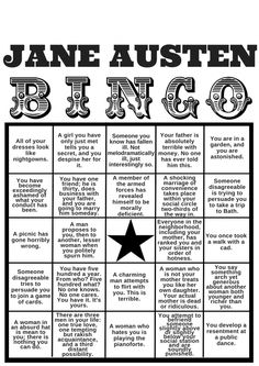 "BINGO: Jane Austen's Biggest Literary Clichés | Her Campus  (I especially like the ""You Have Five Hundred A Year"""