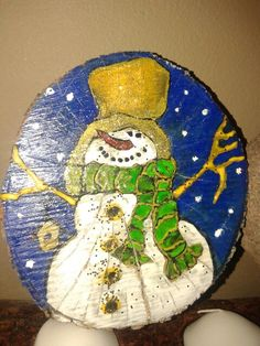 Handmade #tempera use #wood creations for Christmas #snowman by me