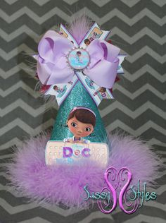 Doc McStuffins Birthday Hat Accessory and Bow by SassyStylesbySS, $20.00