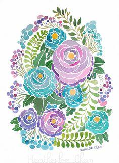 Flores acuarela púrpura y azul pintura por heatherleechan en Etsy