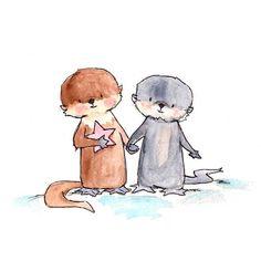 Otter Pup Pals 8x10 Nursery Art Print New Baby by ohhellodear, $20.00