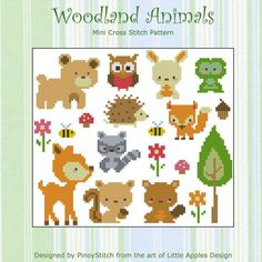 Colección de animales del bosque Cruz tabla de PDF por PinoyStitch