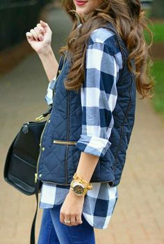 Buffalo check top with a vest for a Fall day | casual fall fashion style | fall outfit inspiration