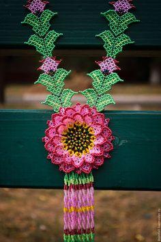 """Купить Колье """"Утренний цветок"""" - колье ручной работы, колье из бисера, украшение…"""