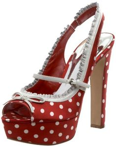 red and white polka dot guess wedding shoes