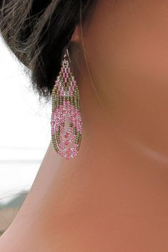 Olive Green and Pink Earrings - Bead-Woven Seed Bead Earrings