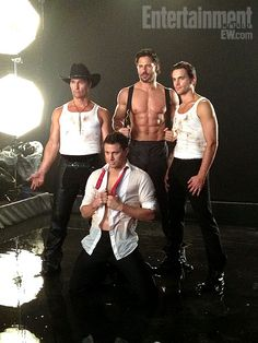 Holy shit...a stripper movie with these four in it....i'm in.  Magic Mike, opens 06/29/12. Rachael Lieberman, EW's Senior Associate Photo Editor, was in N.Y. on April 24, 2012, for our shoot with Channing Tatum, Matthew McConaughey, Joe Manganiello, and Matt Bomer.