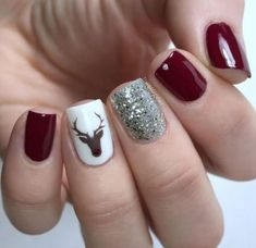 Holiday manicure with dark red nails, silver sparkle accent nail and Rudolph acc. - Holiday manicure with dark red nails, silver sparkle accent nail and Rudolph accent nail. Xmas Nails, Holiday Nails, Red Nails, Christmas Manicure, Polish Nails, Christmas Makeup, Fall Acrylic Nails, Acrylic Nail Designs, Nail Art Designs