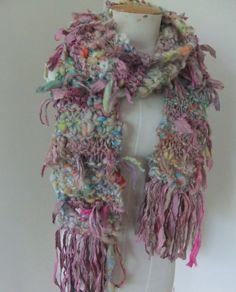 Hand Spun Art Yarn  Recycled Sari Silk  Scarf  Dusty by plumfish, $55.00