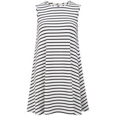 Glamorous Women's Nautical Stripe Dress (€15) ❤ liked on Polyvore featuring dresses, vestidos, casual dresses, robes, white, striped swing dress, high-low dresses, glamorous dresses, white sleeveless dress and nautical striped dress