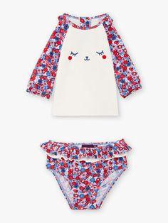 Ensemble T-shirt manches longues et culotte de bain anti-UV bébé fille Beach Kids, Bikinis, Swimwear, T Shirt, Collection, Fashion, Boyshorts, Bathing Suits, Moda