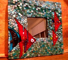 Turquoise mosaic mirror with 3 fish