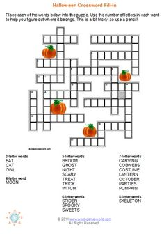 Try this unique Halloween crossword puzzle. Its a fill-in puzzle that your kids are sure to love. Perfect entertainment for a Halloween party! Halloween Crossword Puzzles, Halloween Puzzles, Halloween Words, Halloween Activities, Holiday Activities, Halloween Party, Happy Halloween, Fill In Puzzles, Puzzles For Kids
