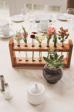 <3 TEST TUBE RACKS centerpiece - Toronto Wedding at Berkeley Field House from Nikki Mills (test tubes AND succulents!)