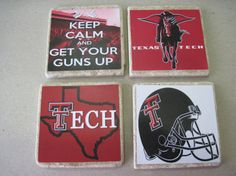 Texas Tech Coasters  Set of 4 by YouWillLovett on Etsy