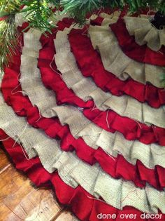 Make your own No-Sew Ruffled Tree Skirt (can double the width of strips and fold in half, so burlap doesn't fray)