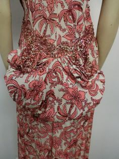 40s Rayon Crepe Floral Print Gown with Bustle Back and Sequins image 5
