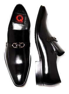 Brand Q Men's Black Slip-On Shoes Ferragamo Style Shoes with Metal Buckle - Q583