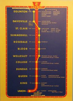 The Toronto subway map might not be as iconic as London's or as comprehensive as New York's, but it has its own charms. From day one, the TTC has m. Toronto Subway, Nyc Subway Map, Bus Map, Brighton Map, Gill Sans, System Map, Toronto City, Toronto Canada, U Bahn
