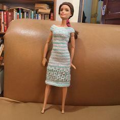 Ravelry: Eyelet Mesh Dress pattern by Laylaa Ali Barbie Knitting Patterns, Knitting Dolls Clothes, Ag Doll Clothes, Barbie Patterns, Doll Clothes Patterns, Clothing Patterns, Dress Patterns, Knitted Dolls, Knit Patterns
