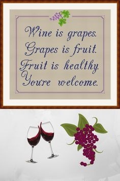 Wine is grapes Funny cross stitch pattern PDF for instant download ♥ This pattern is a Digital cross stitch. Instant download after purchase. ♥Stitches: 197 x 183 ♥DMC Colors: 7 ♥Fabric: 14 Aida Size(s): 14 x 413 inches or 36 x 33 cm ♥LEVELS: BEGINNER This pattern is in PDF format and consists of a floss list, color symbol chart, and one page for computer or smartphone viewing. Funny Cross Stitch Patterns, Stitches, Smartphone, Pdf, Symbols, Chart, Wine, Digital, Colors