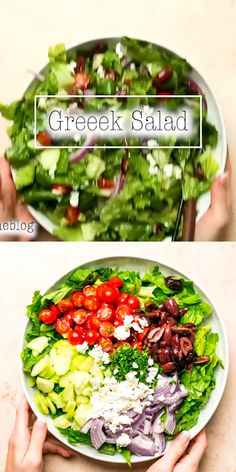 Super Easy Greek Salad Super Easy and Deliciously Crunchy Greek Salad Recipe. Easy Greek Salad Recipe, Greek Salad Recipes, Best Salad Recipes, Salad Dressing Recipes, Healthy Recipes, Best Greek Salad, Lettuce Salad Recipes, Chopped Salad Recipes, Chicken Salad Recipes