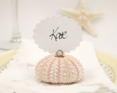 Beach Wedding Escort Cards, 10 Shell Guest Name Place Cards for your Wedding Table Decoration, Pink Urchin Shabby Chic, Sea. $25.00, via Etsy.