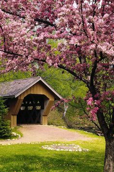 covered bridge and cherry blossoms at the Red Mill, Waupaca, Wisconsin. Good memories with Grandparents here! Beautiful World, Beautiful Places, Beautiful Scenery, Beautiful Gifts, Old Bridges, Country Scenes, Old Barns, Covered Bridges, Beautiful Landscapes