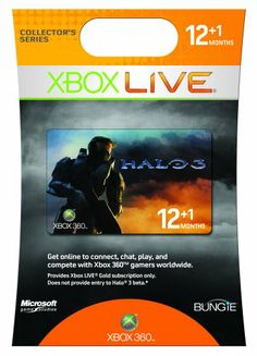 Xbox 360 Live 12 Month Halo 3 Gold Card « Game Searches Halo 3, Xbox Console, Xbox Live, Xbox 360, Card Games, Cards, Friends, Gold, Free