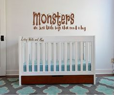 Monsters Are Just Little Boys That Need A Hug Vinyl Decal Sticker Monsters  Wall Decal Vinyl