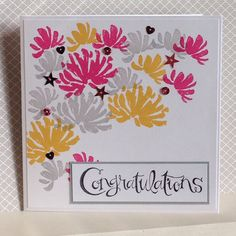 Fun card could be adapted for many occasions, using Too Kind stamp set in colours of Melon Mambo, Crushed Curry and Smoky Slate - created by Julia Jordan