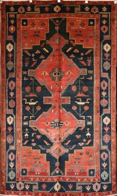 Persian Hand-Knotted Nahavand Rug in Wool (Cotton Foundation) - Ref: 396 - 2.65m x 1.54m