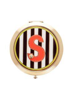 inital s compact - cosmetic compact - designer beauty accessories New Fashion, Fashion Beauty, Beauty Junkie, Compact Mirror, Fashion Advice, Flask, Initials, Lettering, Fun