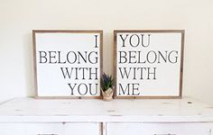 """I belong with you You belong with me 2 Sign Set Framed Wood Sign Distressed Wooden Wall art Fixer Upper Style signs 19""""x19"""" Bedroom Over the bed Signs We are a participant in the Amazon Services LLC Associates Program, an affiliate advertising program designed to provide a means for us to earn fees by linking to Amazon.com and affiliated sites. #FarmhouseDecor #ValentinesDayDecor"""