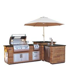 Fire Magic L-Shaped Reclaimed Wood Island - Reclaimed Wood Base with Polished Black Lava Counter - - BBQ ideas - Outdoor Kitchen Outdoor Grill Island, Outdoor Kitchen Patio, Bbq Island, Outdoor Kitchen Design, Backyard Patio, Outdoor Living, Fire Island, Outdoor Patios, Outdoor Kitchens
