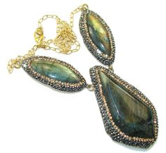 $192.15 Amazing Design!! Fire Labradorite 18ct. Gold Plated Sterling  Silver necklace at www.SilverRushStyle.com #necklace #handmade #jewelry #silver #labradorite