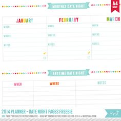 2014 Planner – Free Printables! Click to for all of the free pages.