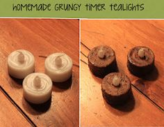 Use Mod Podge and coffee to give plastic tealights a primitive grungy look