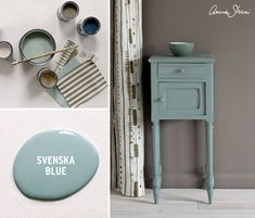This side table painted with Chalk Paint® by Annie Sloan in Svenska Blue is set… - Chalk Paint Bed, Duck Egg Blue Chalk Paint, Annie Sloan Chalk Paint Colors, Annie Sloan Paints, Chalk Paint Furniture, Chalk Painting, Painted Pianos, Painted Beds, Annie Sloan Furniture