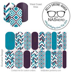 Diggin' it?! Click to get warped over to The NAS Nerd's Marketplace Designer Studio! Express your style w/ custom nail wraps!  • Don't have a personal consultant of your own? New to the Jamberry Universe? Message me on my Facebook Fan Page w/ design requests or an invite to join my VIP customer group! www.facebook.com/KellyGBTheNASNerd/  • nail art cosplay costume diy manicure pedicure lacquer gel kgbnas West Coast Miss chevron arrow diamond turquoise purple Cali Girl peacock teal modern…